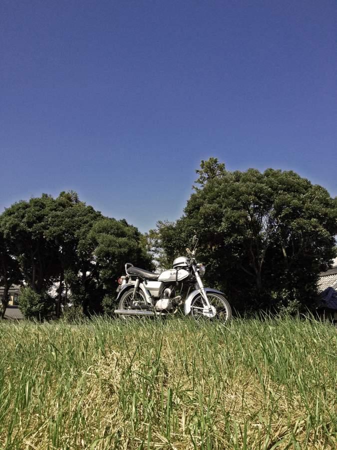 夏の風景とバイク